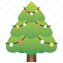 christmas, decorated, pine, traditional, tree