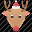 animal, antler, christmas, reindeer, rudolph