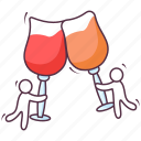 alcoholic beverage, alcoholic drink, celebration drink, champagne, cheers, wine, wine glasses icon