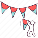 christmas banners, christmas decoration, garlands, party garlands, streamers icon
