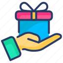 birthday gift, gift, gift box, give, give a gift, hand, present icon