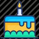 birthday, birthday cake, cake, candle, desert, dessert, food icon