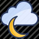 cloud, forecast, lightning, moon, nature, rain, weather