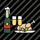 christmas, wine, dinner, champagne, chicken