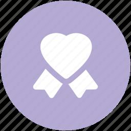 gift seal, heart seal, ribbon badge, ribbon seal, stamp, wax seal icon