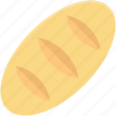 baguette, bread loaf, breakfast, food, french bread icon
