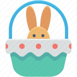 bunny basket, easter, easter basket, gift basket, holiday icon