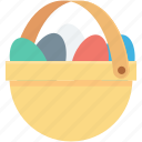easter basket, easter decorations, easter eggs, eggs basket, paschal eggs icon