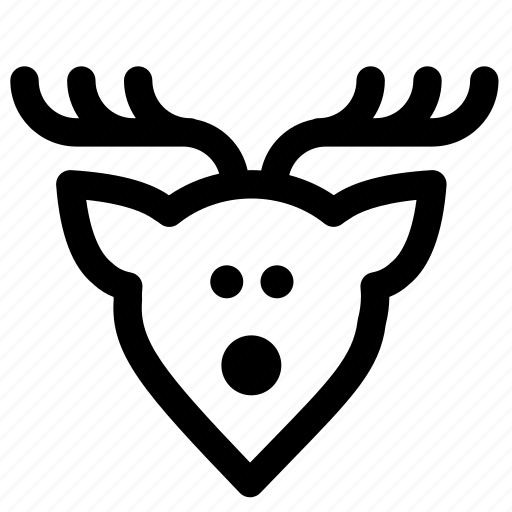 animal, christmas, deer, horns, new year, santa claus, winter icon