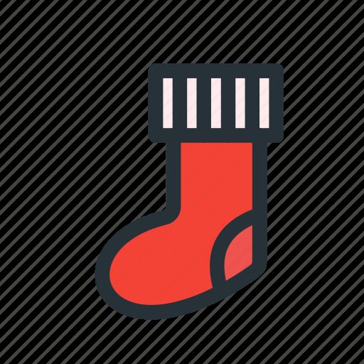 christmas, decoration, gift, sock, xmas icon