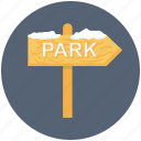 christmas, park, sign, snow, winter icon