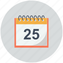 calendar, day, diary, number 25, schedule