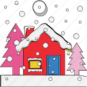 building, bungalow, christmas house, pine tree, winter house icon