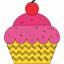 bakery food, cupcake, cupcake cherry, dessert, fairy cake, muffin icon