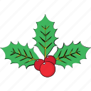 christmas mistletoe, christmas ornaments, happy event, mistletoe, plant icon