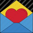 envelope, heart, letter, love letter, lover letter, valentine card, valentine greeting icon