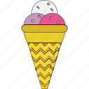 cone, frozen dessert, ice cone, ice cream, snow cone, sorbet, sundaes cone icon