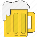 ale, beer, beverage, chilled beer, drink, mug icon