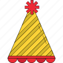 birthday cap, birthday clown, birthday cone hat, cone hat, party cap, party cone hat, party hats icon