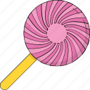 candy, confectionery, lollipop, sweet snack, swirl lollipop icon
