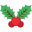 celebration, christmas, happy christmas, mistletoe, mistletoe leaves, ornaments, plant icon