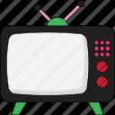 screen, television, television screen, telly screen, tv, vintage television, vintage tv icon