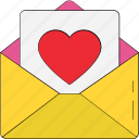 envelope, heart, letter, love letter, lover letter, valentine card, valentine greeting icon