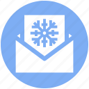 card, christmas, christmas card, envelope, letter, snowflake icon