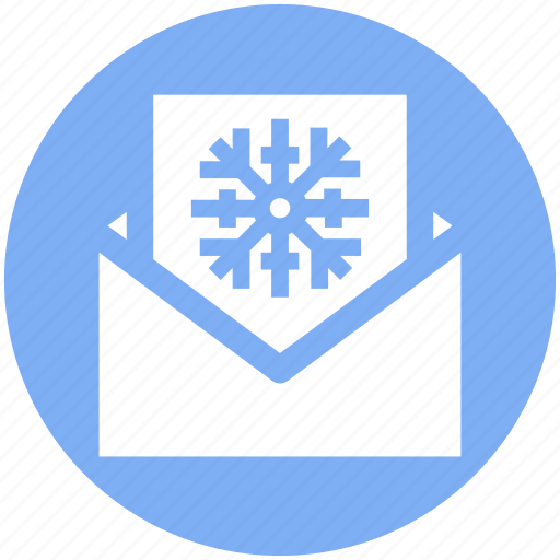 card, christmas, christmas card, envelope, letter, snowflake icon