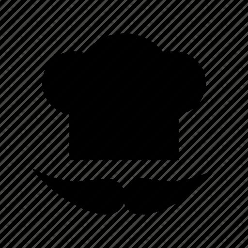 chef hat, chef revival, chef toque, chef uniform, cook hat, mustache icon
