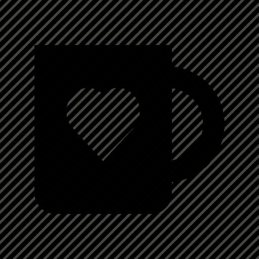 coffee, cup, heart sign, mug, tea icon