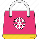 christmas shopping, shopper bag, shopping bag, snowflake, tote bag icon