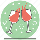 celebration, cheer, christmas, concept, merry, new year, wine glass icon