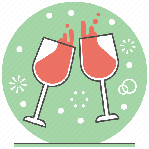 celebration cheer christmas concept merry new year wine glass icon