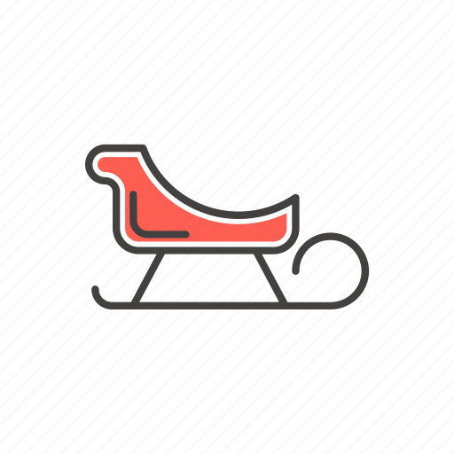 christmas, line, new year, sled, thin icon