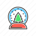 christmas, fir-tree, line, snow, snowglobe, thin icon