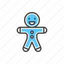 christmas, gingerman, line, thin icon