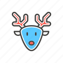 christmas, deer, funny, line, thin icon