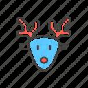 christmas, deer, funny, line, thin icon