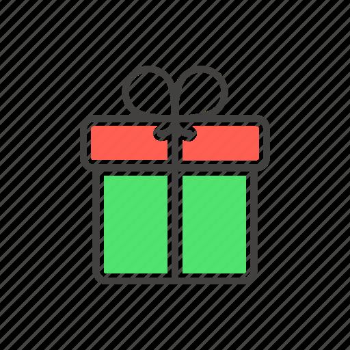 christmas, gift, line, present, thin icon