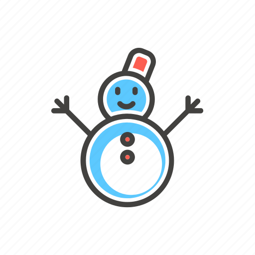 christmas, funny, line, snow, snowman, thin icon