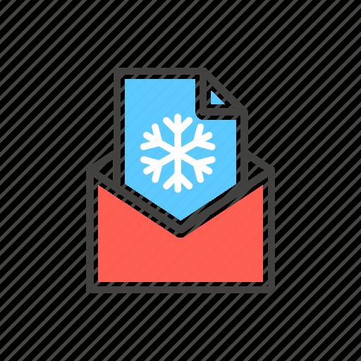 christmas, envelope, letter, line, snowflake, thin icon