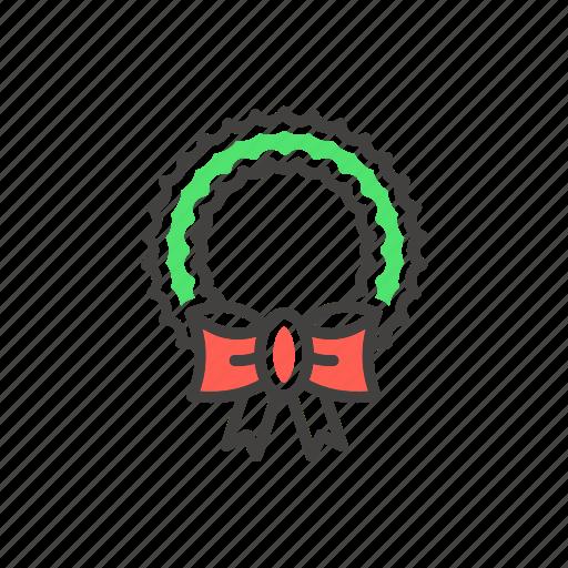 christmas, decoration, garland, line, thin, wreath icon