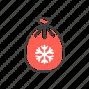 bag, christmas, gift, line, present, santa, thin