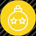 ball, bauble, christmas, christmas ball, decoration, holidays, stars icon