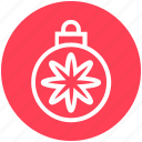 ball, bauble, christmas, christmas ball, decoration, flower, holidays icon