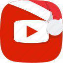 christmas, santa, social, video, youtube icon