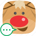 contact, feedback, reindeer, sms, talk icon