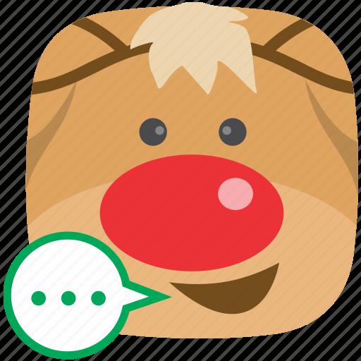 contact, feedback, reindeer, sms, talk icon