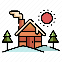 cabin, christmas, house, place, winter, xmas icon